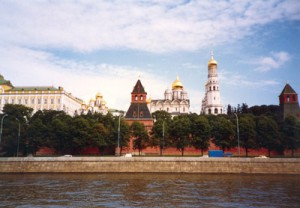 The Kremlin wall and cathedral domes in Red Square.