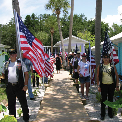 A color guard from the Rolling Thunder motorcycle group greeted more than 200 guests at the dedication last Sunday. Liam Brady photo