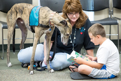Kelley Weaver, South County coordinator for Paws For Friendship Inc., along with her dog Ty, listens as a young boy reads to them at the SouthShore Regional Library in Ruskin on July 21. Mitch Traphagen Photo