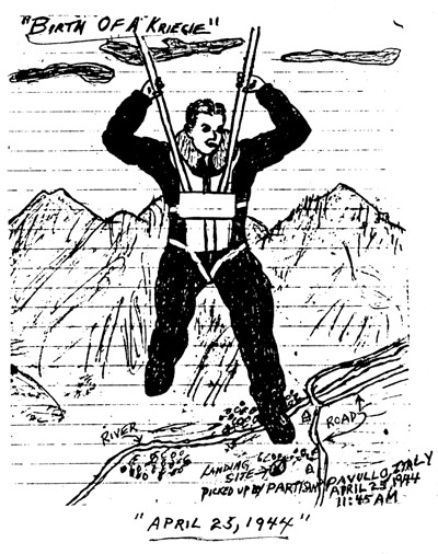 Donald Durant later drew himself parachuting from his plane with three other men. Contributed by Sallie Durant