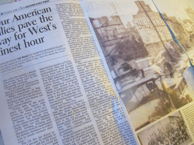 "The article, ""Our American allies pave the way for West's finest hour,"" written by Iris Rowe for the Western Daily Press in Somerset, United Kingdom. The paper ""D-Day: The West Country remembers"" was sent to local resident Murray Cashdollar. Lia Martin photo."