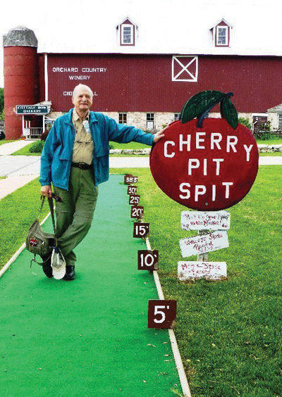 A cherry pit spitting course complete with distance markers. Jeanne O'Connor photo.