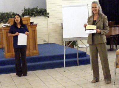 Fran Fabbro, right, and translator Claudia Estrada.