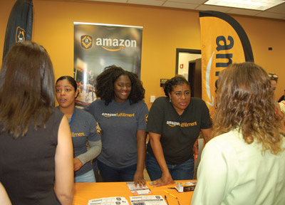 Staff for the local shipping giant, Amazon, had so much interest they stayed after the Job Fair ended and resumed taking applications in the patio area. Chere Simmons photo.