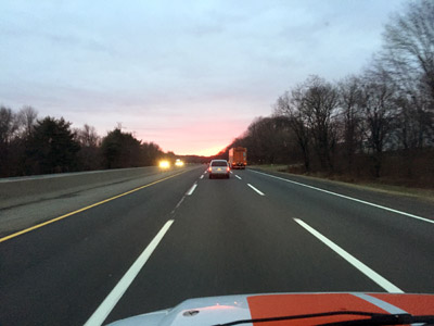On the New Jersey Turnpike headed south into a setting sun.  Mitch Traphagen photo.