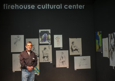 Well-known Ruskin artist Bruce Marsh moderates a drawing group that meets every other Thursday evening at the Firehouse Cultural Center in Ruskin. The group is informal and not a class. People of all experience and abilities are welcome. Marsh is pictured here during a recent exhibit held by the group. Mitch Traphagen photos.