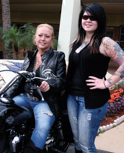 Bikers Terri Sane from Holiday, Fla., and Mallory Spenser from Tarpon Springs.