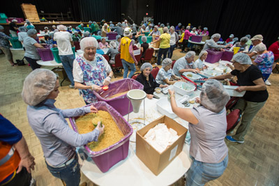 At the Borini Theatre in Kings Point on Saturday, 250 volunteers gathered to package 54,000 meals for those in need right here in South Hillsborough. The event was Meals of Hope and was organized by the Sun City Center Rotary Club, with numerous other service organizations and churches involved in making the project a success.