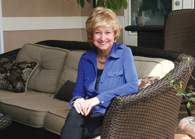 "Lorraine Ellwood relaxes at home, celebrating her ""cancer-free"" diagnosis. Lisa Stark photo - lisastark.com."