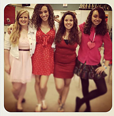 Members of the Riverview High School Chorus will perform songs throughout South County Feb. 13 and 14 for that special someone in your life. Above, from left, are, Emma Zak, Melanie Cristobal, Gina Rodriguez & Vanessa Volz. Elizabeth Stewart photo.