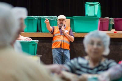Organizer James Wilmouth, providing instruction, encouragement and gratitude to the volunteers during the event on Saturday.