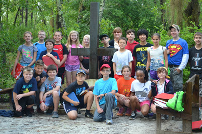 Sixth graders, with teacher Peg Rankin, enjoy a trip to Luther Springs Camp in Hawthorne, Fla. Jenny West photo.