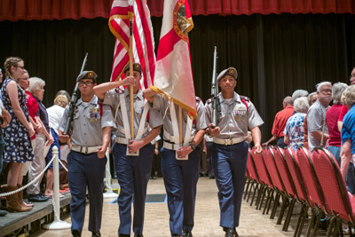The East Bay High School JROTC Color Guard presented the colors during the opening of the ceremony.