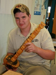 Blake Swackhammer personalized his wood project with pen-and-ink designs.