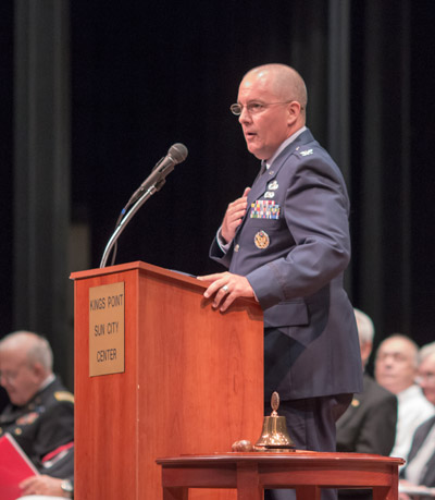 Keynote speaker Col. Mike Escudie of the U.S. Central Command at MacDill AFB spoke of the need for young people to learn from the older generations before it is too late.