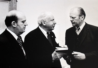 "H. Spencer Faircloth, left, with President Gerald Ford, right, and James Oates, a renowned figure in U.S. political life at the time who played an important role in Faircloth's life. Ford, whom Faircloth recalls as ""very gentlemanly and someone who treated people fairly and was not arrogant,"" assumed the presidency in the wake of Richard Nixon's resignation."