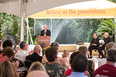 "Dr. Keith Taylor, president of Gannon University, speaks during the dedication and blessing of the university's newest campus located in Ruskin. ""It took a century but higher education has now returned to College Avenue,"" he said, while thanking the community for its support. Mitch Traphagen photos."