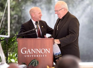 Dr. Taylor and Bishop Robert Lynch of the Diocese of St. Petersburg during the dedication ceremony.