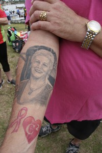 Steerer Joe Campbell shows a tattoo portrait of his wife Christina, who lost her battle with breast cancer last June.