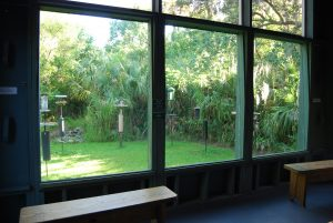 Visitors to the Felts Preserve can observe birds feeding from the comfort of an enclosed bird blind.