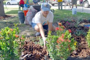 Kayla LaTorre, of the Florida Home Partnership, shores up some new flowers and plants at Hazel Jackson's home in Summerview Oaks, Riverview, as part of the Florida Home Partnership's celebration of the USDA June Home Ownership Month.