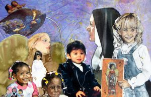 Carole Scoble exhibited her painting Angels Watch Over All God's Children at the Southshore Arts Council Members' Meeting in January. Her grandson Tyler is shown in the center of the painting.