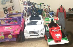 The boutique features toys and bikes for children of all ages.