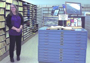 Cathy Slusser stands in the Manatee County Historical Records Library in Bradenton. The library is one of the five historical sites Slusser supervises as director of the historical resources department of the Manatee County Clerk of Circuit Court.