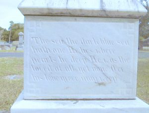 """Caroline Fogarty erected a monument with a verse from Felicia Dorothea Hemans' poem, """"The Graves of a Household"""" in memorial to her husband, Will, after he was lost at sea."""