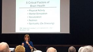 PeggyBargmann, R.N., said there are simple, easy exercises we can all do to maintain and improve brain health. Bargmann is director of the Brain Fitness Clubs for seniors. For information on setting up a club call 407-927-4380 or email BrainFitnessClub@gmail.com. KEVIN BRADY PHOTOS