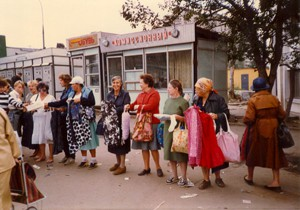 Women selling wares at an open market in Moscow.