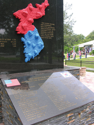 The Korean War Memorial in Veterans Park carries the names of 56 local service people who died during the Korean War. Kevin Brady Photo