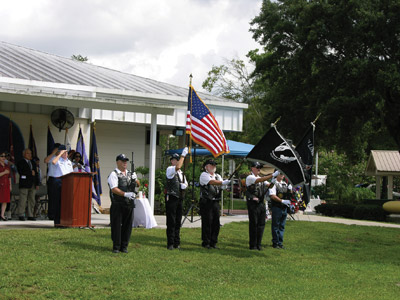 Members of Rolling Thunder motorcycle group advanced the colors at the remembrance. Kevin Brady Photo