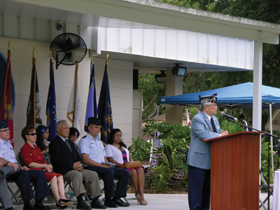 Eddie Ko, instrumental in the construction of the Korean War Memorial at Veterans Memorial Park, welcomed guests to the event. Kevin Brady Photo