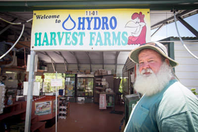 John Lawson of Hydro Harvest Farms outside the farm stand at 1101 E. Shell Point Road in Ruskin.
