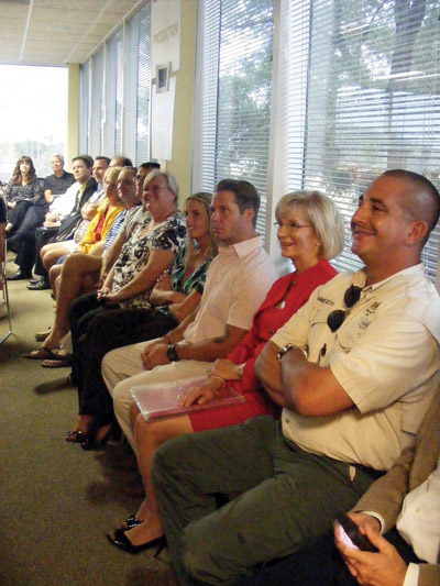 County Commissioner Sandra Murman, second from right, and members of the Hillsborough County staff from various planning agencies await their turn to explain a multifaceted project in Apollo Beach. The plan includes what is considered a first-of-its-kind partnership between business, the private sector and a nonprofit organization. Penny Fletcher photo