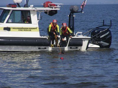 Todd Fortner, Rainey Angerosa, Steve Gonazlo and Matt Saracino man the boat that demonstrates the various tactics for lifesaving in the water.