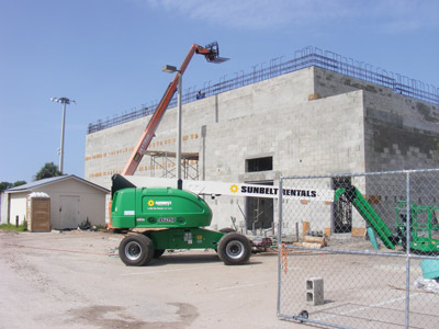 Construction continues on a new gymnasium at the Gardenville Recreation Center on Symmes Road in Gibsonton, a $1.64 million project slated to be completed by the end of this year. Penny Fletcher photos