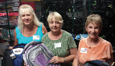 From left, Linda Schmierer, Jane Elarth and Gerry Harding were among the 100 volunteers who helped out at the event.