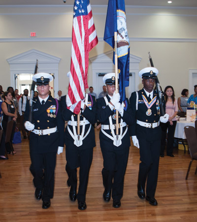 The Riverview High School Junior ROTC Color Guard presented the colors at the Teaching to Excellence breakfast.