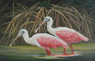 """Wildlife features prominently in Ron Deel's work, as in this one titled """"Mangrove Sanctuary."""""""