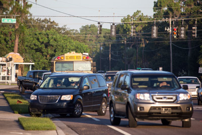 Congestion at the corner of US 41 and SR will be the daily norm once again beginning next Tuesday as Ruskin Elementary School opens its doors for the new school year. Mitch Traphagen photo.
