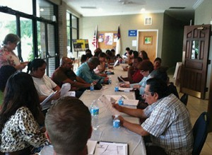 """A total of 10 community """"charlas"""" or informal mini workshops and small group conversations were conducted with a total of 100 residents to conduct the conversations and gather the community data. Hispanic Services Council photo."""