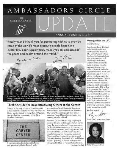 Kudos are given to Dr. Ott's creativity in promoting The Carter Center by placing a commemorative brick at the off-leash dog park in Ruskin. This article featured the gesture in its monthly, national newsletter Ambassadors Circle.