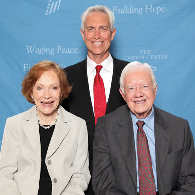 Ruskin's Dr. Hal Ott is pictured with First Lady Rosalynn and President Jimmy Carter. Dom Miguel photo.