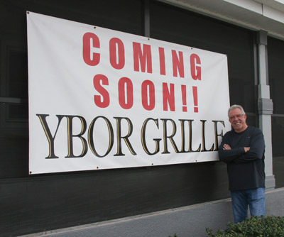 Owner Bobby Fernandez stands in front of the new location of Ybor Grille, which he hopes will be open by the end of January.  Photos by Lisa Stark @www.lisastark.com.
