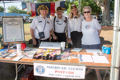 The American Legion Post #246 with Ken Browning, Commander; Blaine Brown, Service Officer; Jan Taylor, 1st Vice Commander; and Marie Brown, American Legion Auxiliary.