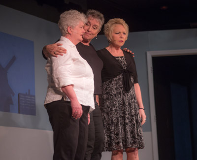 Actress and Observer News associate editor Carol MacAlister (center) with Wendy Smith and MaryAnn Moseley during a FunFest performance at the Rollins Theater.