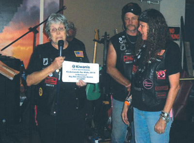 Motorcycle enthusiasts, shown at a Kiwanis event to benefit local children, are expected to play a role in the Poker Run, which will benefit schoolchildren in Riverview and Gibsonton. Photos courtesy of Kiwanis Club.