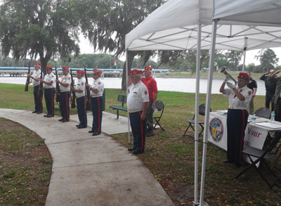 Members of the Marine Corps League fired three volleys and played taps during the 2014 Welcome Home Vietnam Veterans Day. Kevin Brady photo.